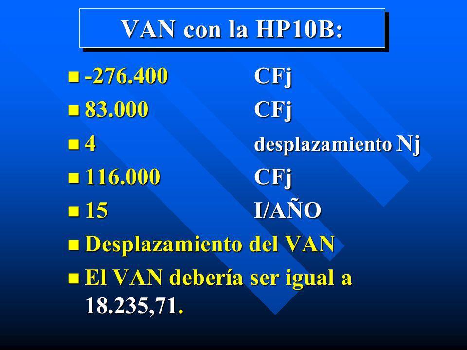 VAN con la HP10B: -276.400 CFj 83.000 CFj 4 desplazamiento Nj