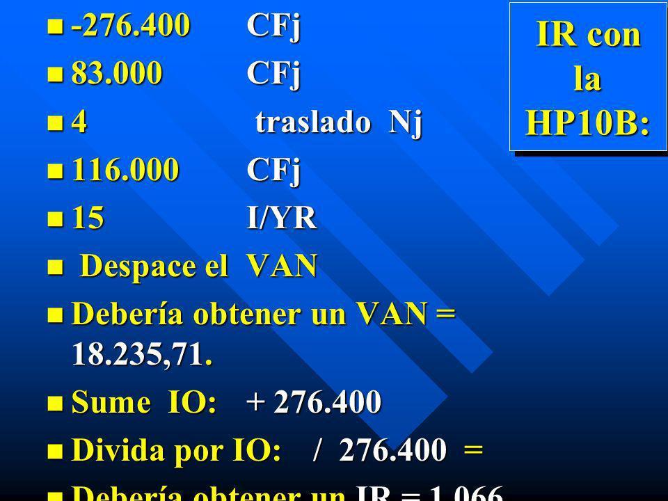 IR con la HP10B: -276.400 CFj 83.000 CFj 4 traslado Nj 116.000 CFj