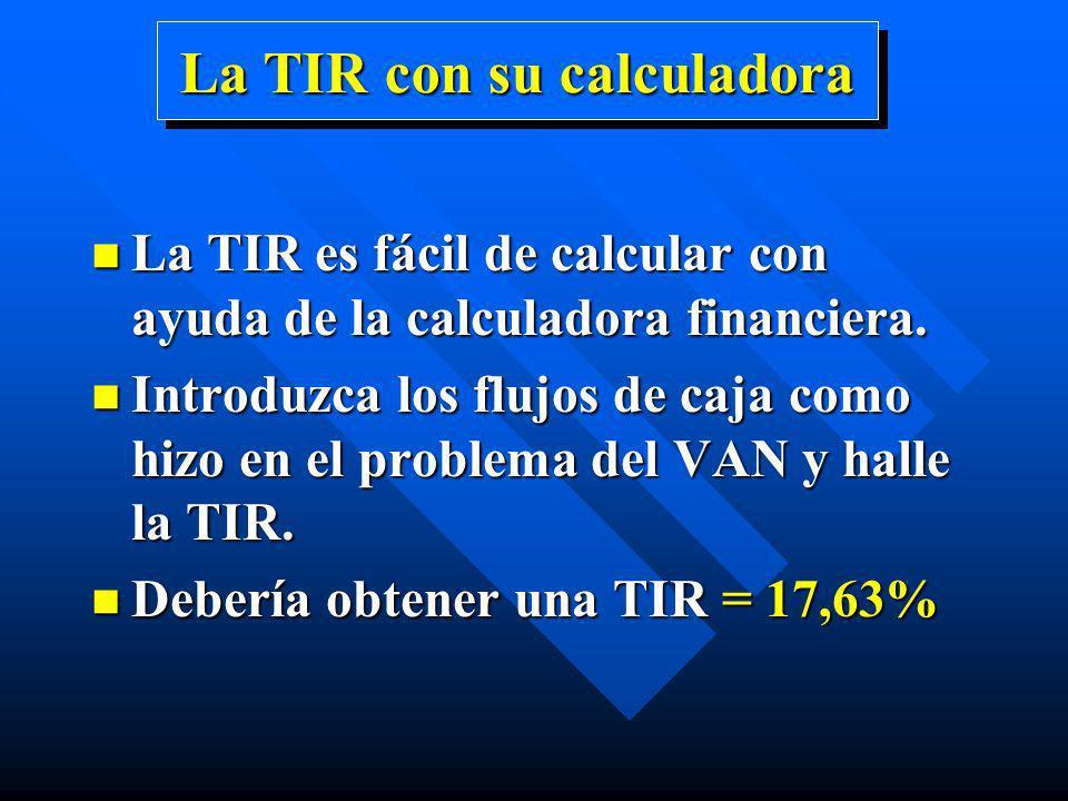 La TIR con su calculadora