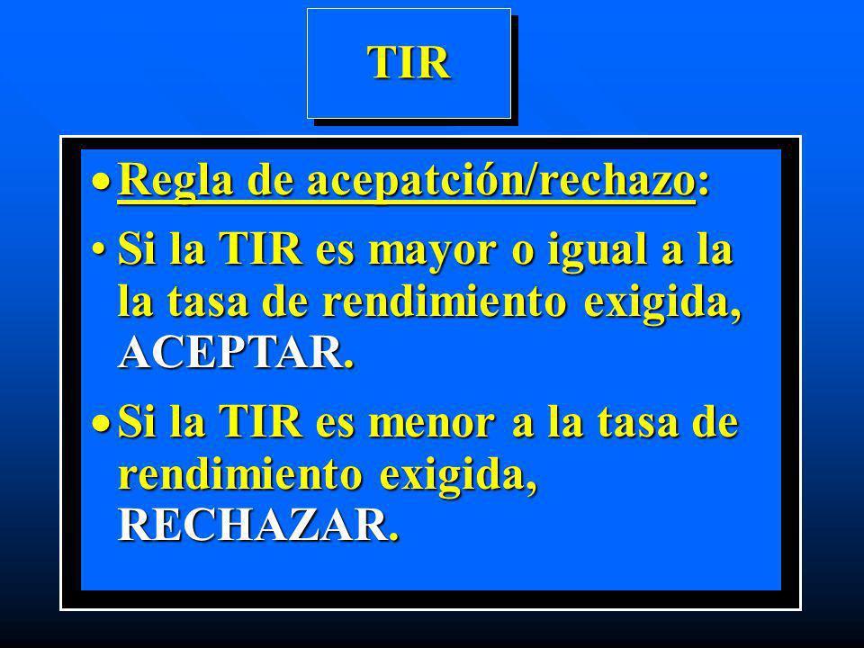 TIR Regla de acepatción/rechazo: Si la TIR es mayor o igual a la la tasa de rendimiento exigida, ACEPTAR.