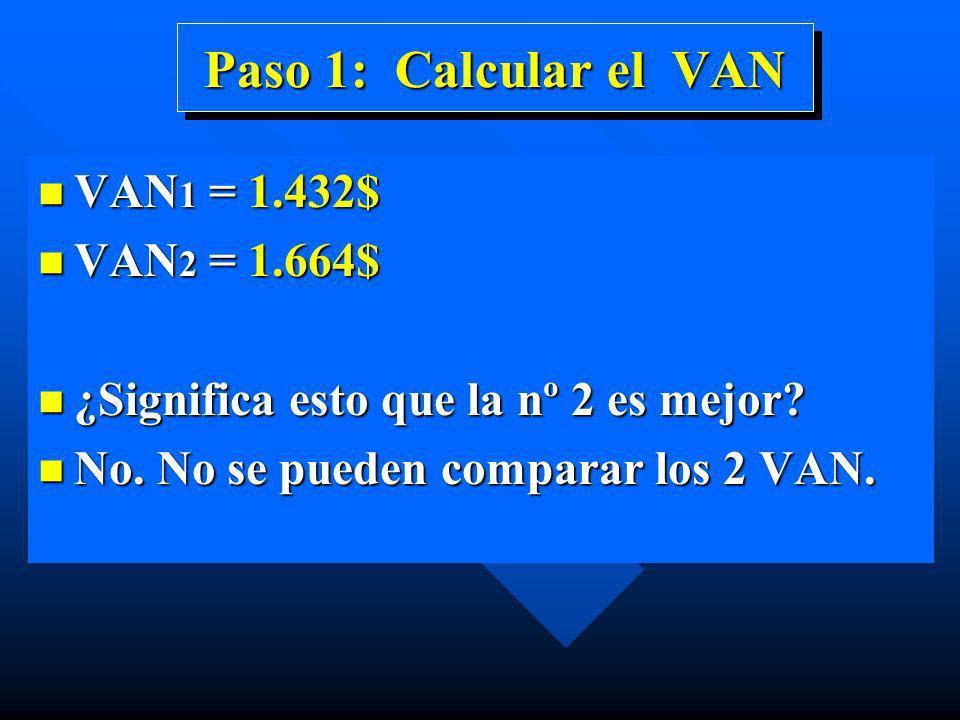 Paso 1: Calcular el VAN VAN1 = 1.432$ VAN2 = 1.664$