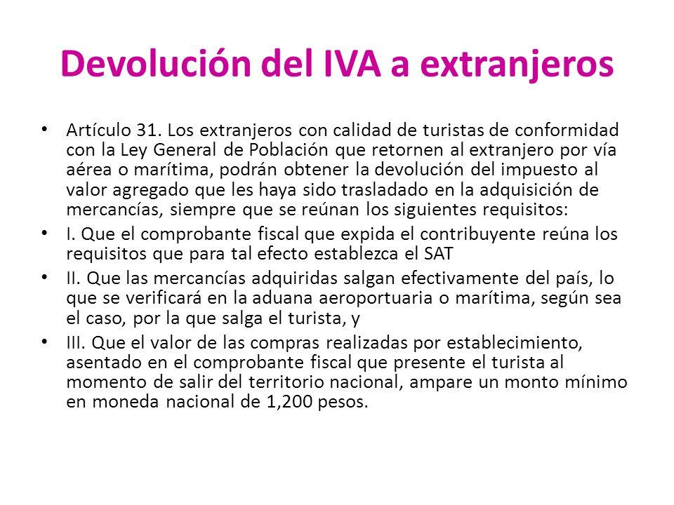 Devolución del IVA a extranjeros