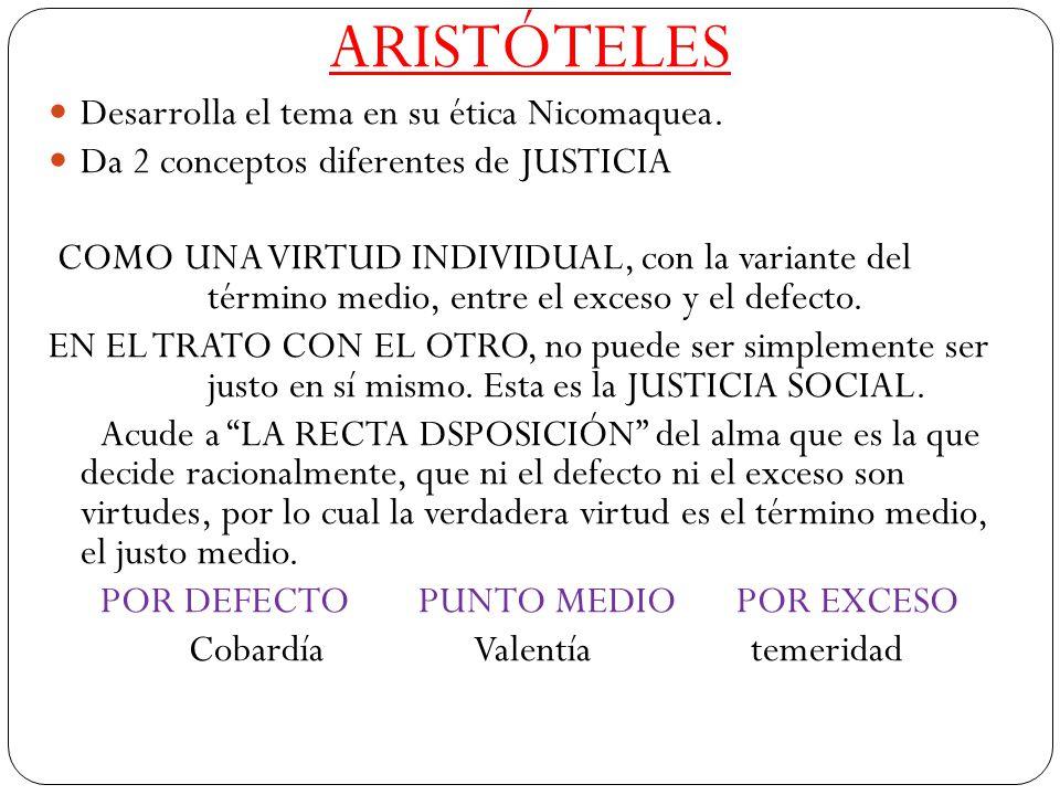 ARISTÓTELES Desarrolla el tema en su ética Nicomaquea.