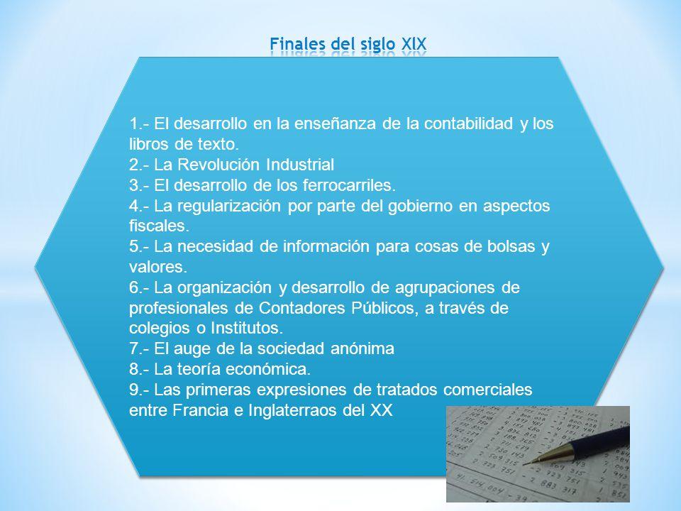 Finales del siglo XlX 1.- El desarrollo en la enseñanza de la contabilidad y los libros de texto. 2.- La Revolución Industrial.