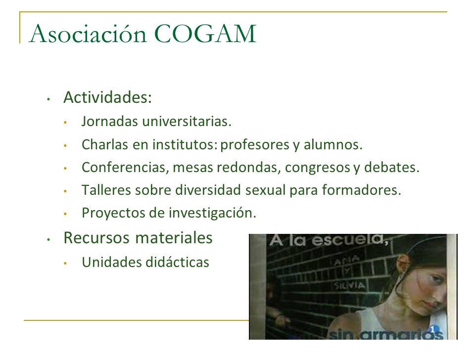 Asociación COGAM Actividades: Recursos materiales