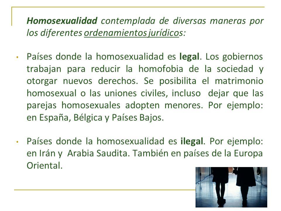 Homosexualidad contemplada de diversas maneras por los diferentes ordenamientos jurídicos: