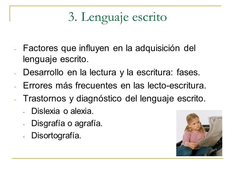 3. Lenguaje escritoFactores que influyen en la adquisición del lenguaje escrito. Desarrollo en la lectura y la escritura: fases.
