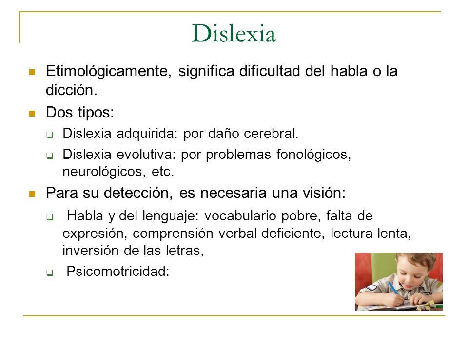 DislexiaEtimológicamente, significa dificultad del habla o la dicción. Dos tipos: Dislexia adquirida: por daño cerebral.