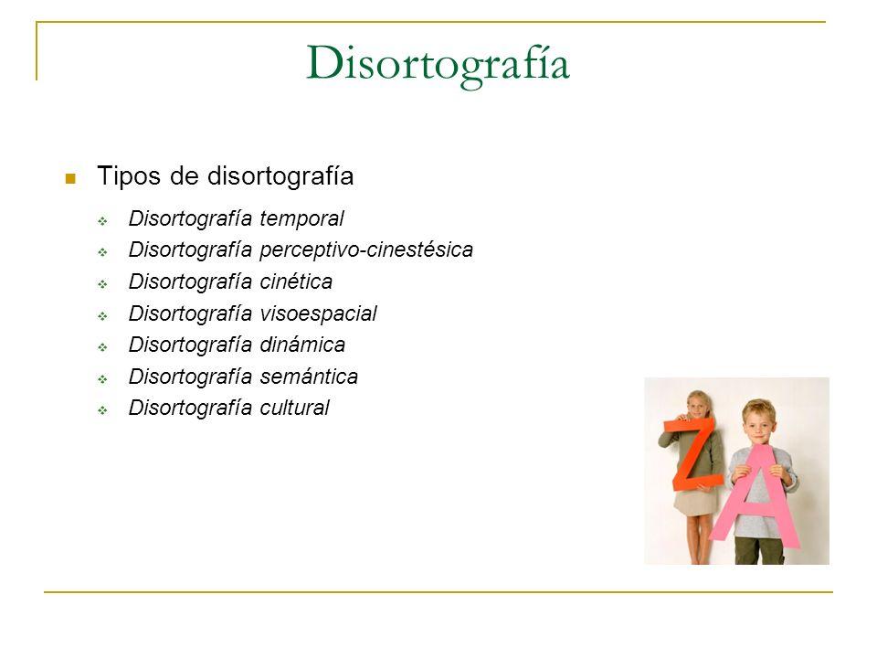 Disortografía Tipos de disortografía Disortografía temporal