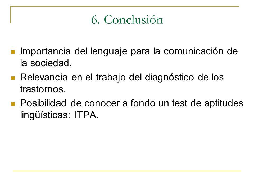 6. ConclusiónImportancia del lenguaje para la comunicación de la sociedad. Relevancia en el trabajo del diagnóstico de los trastornos.