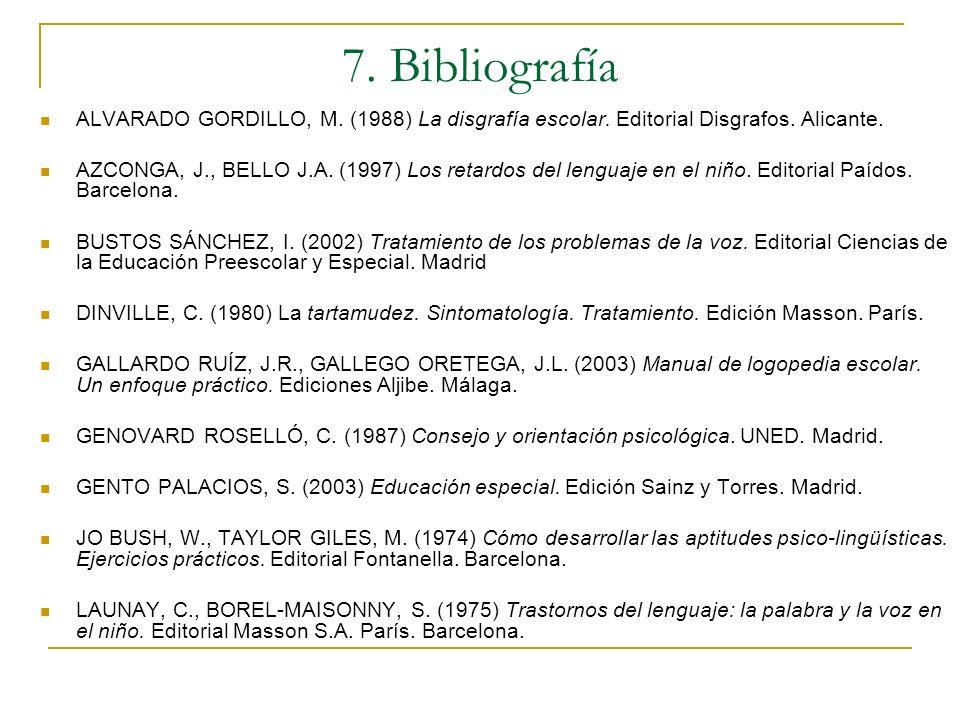 7. BibliografíaALVARADO GORDILLO, M. (1988) La disgrafía escolar. Editorial Disgrafos. Alicante.