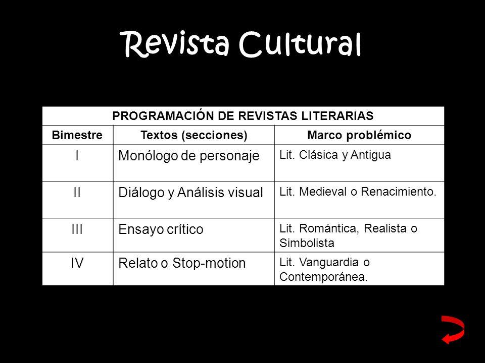 PROGRAMACIÓN DE REVISTAS LITERARIAS
