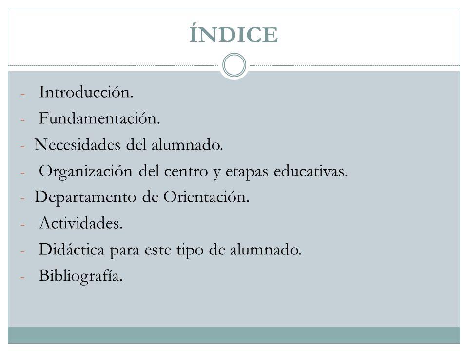 ÍNDICE Introducción. Fundamentación. Necesidades del alumnado.