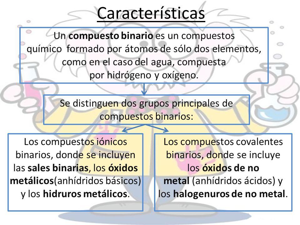 Se distinguen dos grupos principales de compuestos binarios: