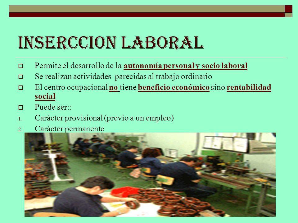 INSERCCION LABORAL Permite el desarrollo de la autonomía personal y socio laboral. Se realizan actividades parecidas al trabajo ordinario.