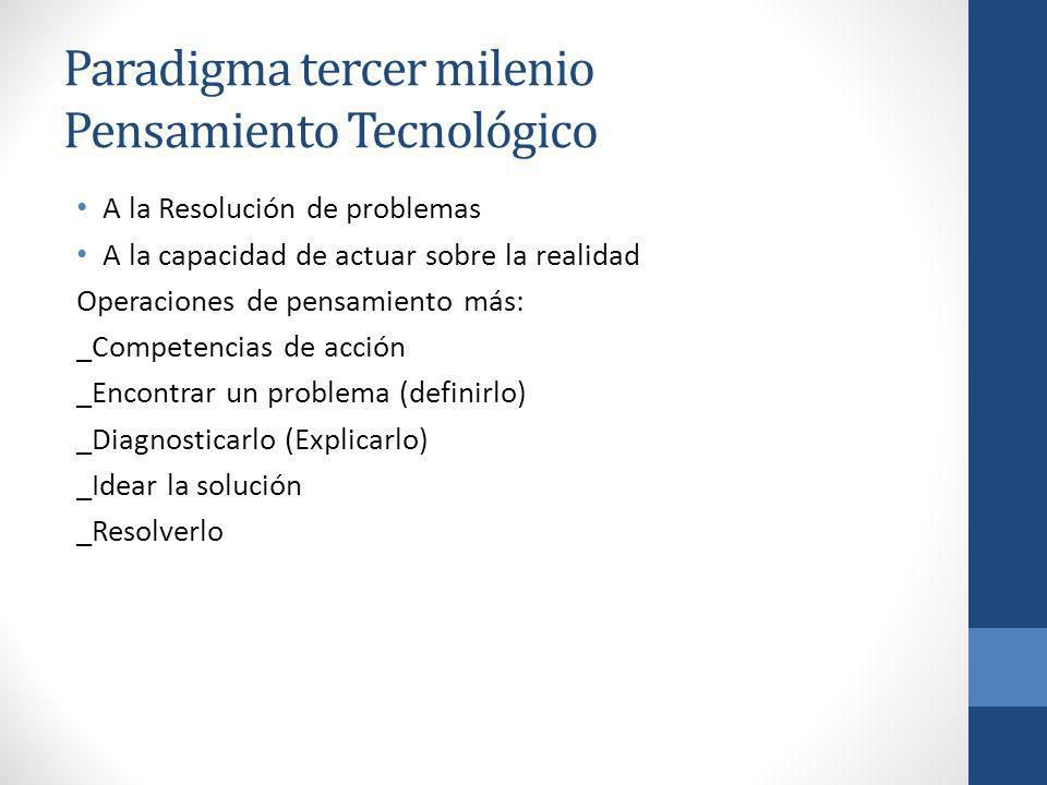 Paradigma tercer milenio Pensamiento Tecnológico