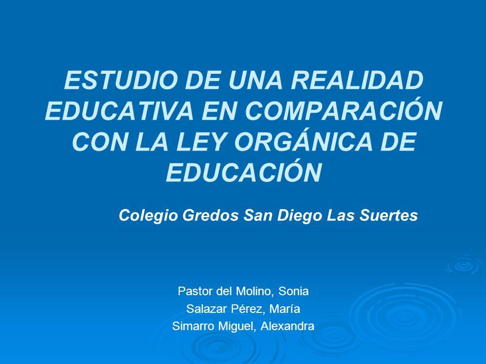 ESTUDIO DE UNA REALIDAD EDUCATIVA EN COMPARACIÓN CON LA LEY ORGÁNICA DE EDUCACIÓN
