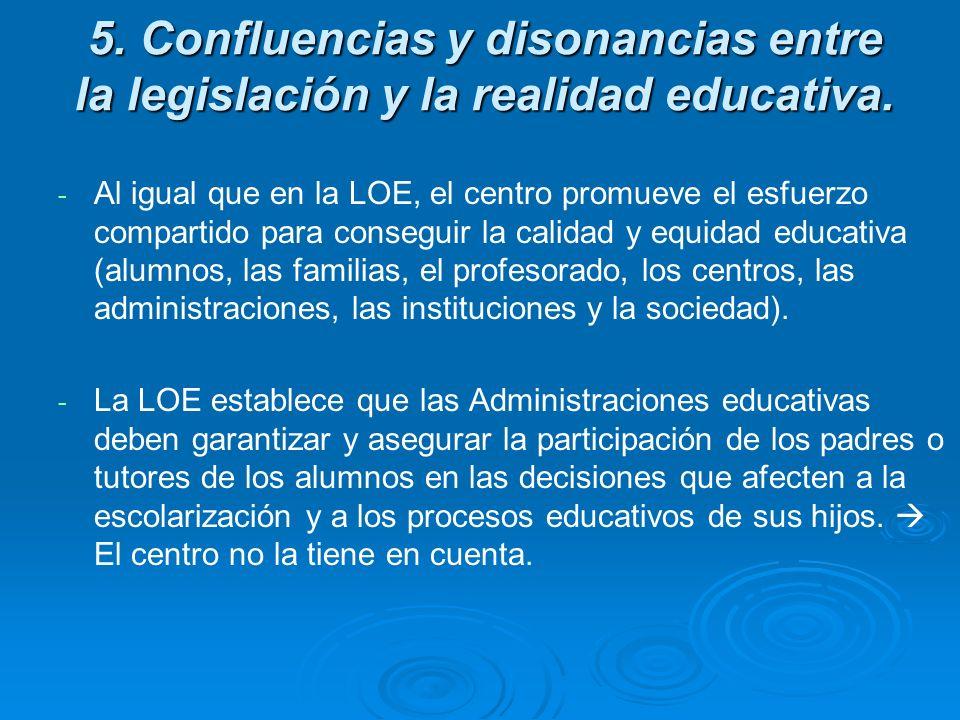5. Confluencias y disonancias entre la legislación y la realidad educativa.