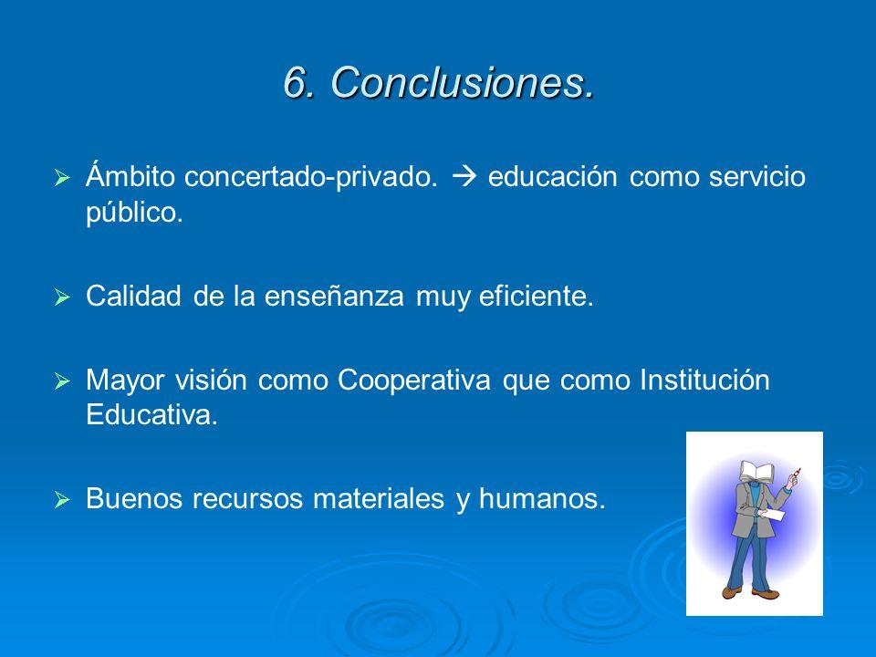 6. Conclusiones. Ámbito concertado-privado.  educación como servicio público. Calidad de la enseñanza muy eficiente.