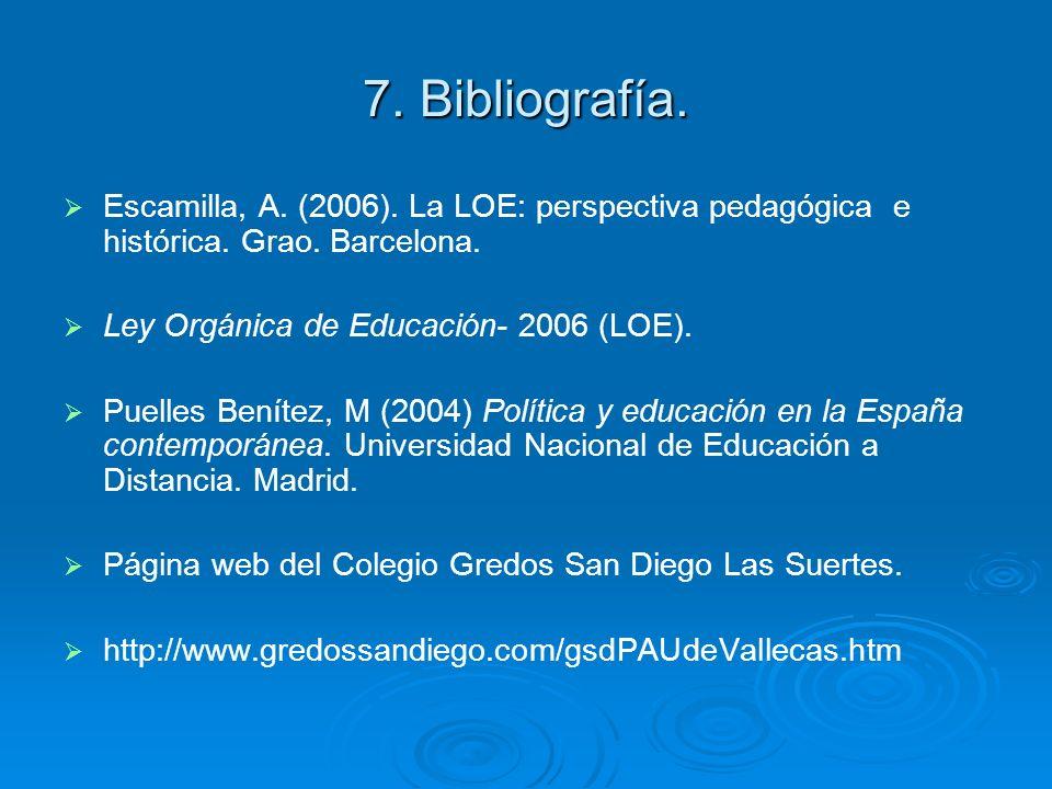7. Bibliografía. Escamilla, A. (2006). La LOE: perspectiva pedagógica e histórica. Grao. Barcelona.