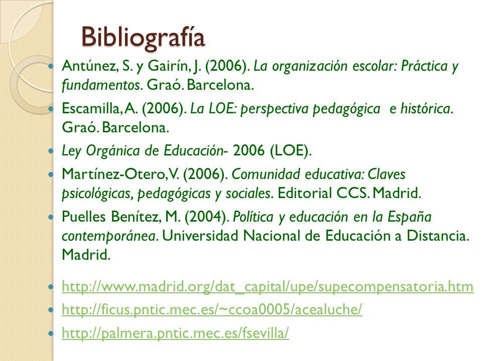 Bibliografía Antúnez, S. y Gairín, J. (2006). La organización escolar: Práctica y fundamentos. Graó. Barcelona.