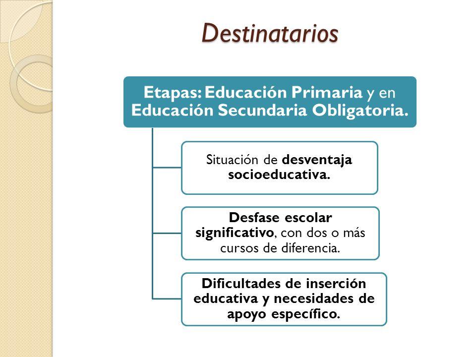 Dificultades de inserción educativa y necesidades de apoyo específico.