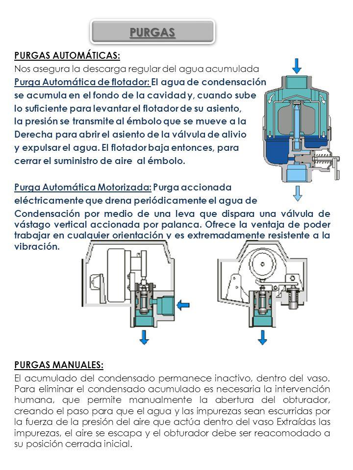 PURGAS AUTOMÁTICAS: Nos asegura la descarga regular del agua acumulada Purga Automática de flotador: El agua de condensación se acumula en el fondo de la cavidad y, cuando sube lo suficiente para levantar el flotador de su asiento, la presión se transmite al émbolo que se mueve a la Derecha para abrir el asiento de la válvula de alivio y expulsar el agua. El flotador baja entonces, para cerrar el suministro de aire al émbolo. Purga Automática Motorizada: Purga accionada eléctricamente que drena periódicamente el agua de Condensación por medio de una leva que dispara una válvula de vástago vertical accionada por palanca. Ofrece la ventaja de poder trabajar en cualquier orientación y es extremadamente resistente a la vibración. PURGAS MANUALES: El acumulado del condensado permanece inactivo, dentro del vaso. Para eliminar el condensado acumulado es necesaria la intervención humana, que permite manualmente la abertura del obturador, creando el paso para que el agua y las impurezas sean escurridas por la fuerza de la presión del aire que actúa dentro del vaso Extraídas las impurezas, el aire se escapa y el obturador debe ser reacomodado a su posición cerrada inicial.
