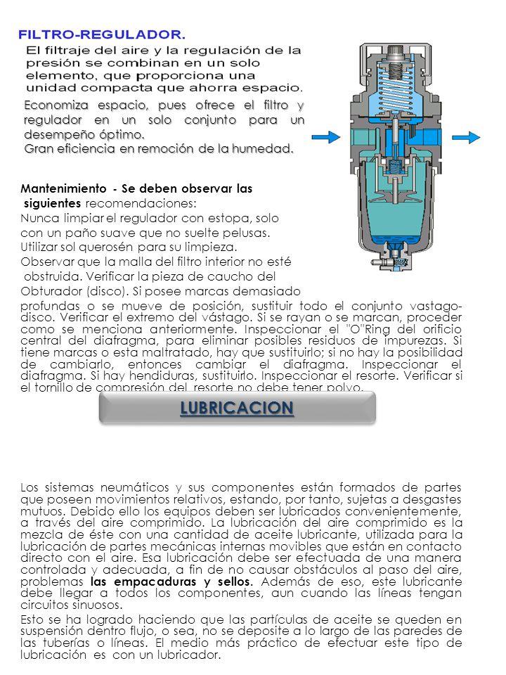 Economiza espacio, pues ofrece el filtro y regulador en un solo conjunto para un desempeño óptimo.