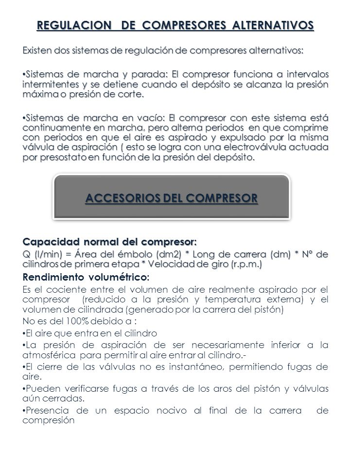 REGULACION DE COMPRESORES ALTERNATIVOS ACCESORIOS DEL COMPRESOR