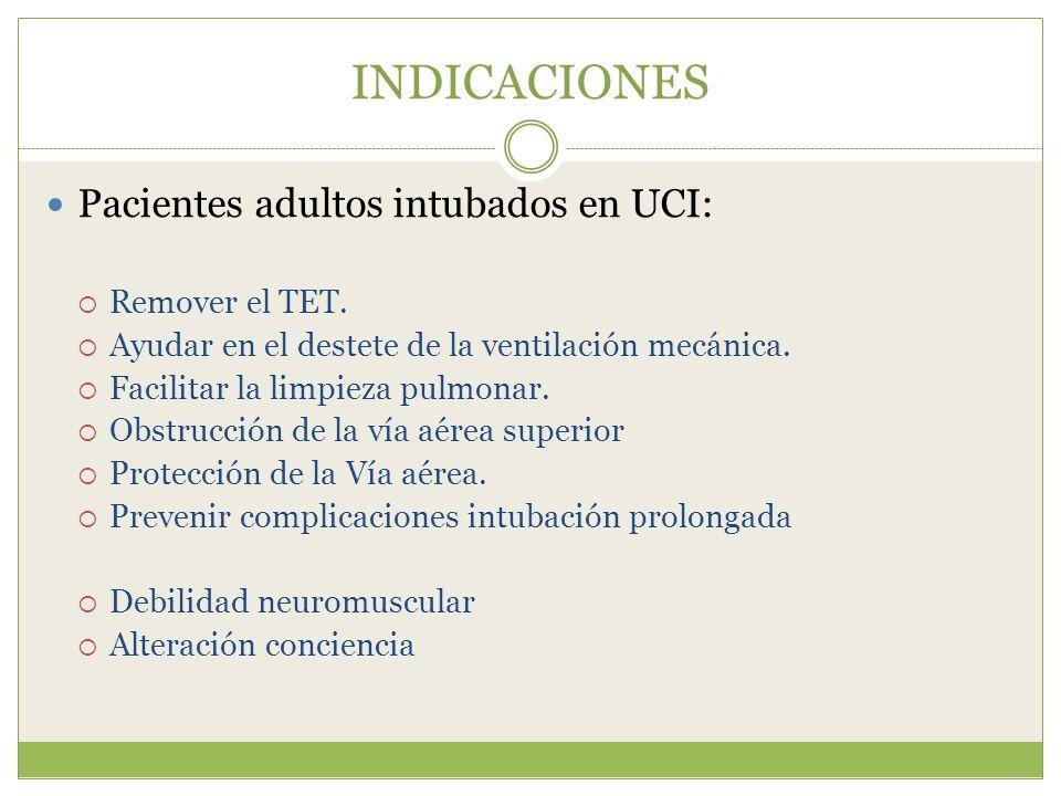 INDICACIONES Pacientes adultos intubados en UCI: Remover el TET.