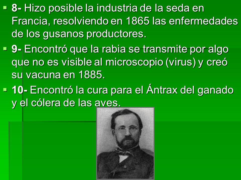 8- Hizo posible la industria de la seda en Francia, resolviendo en 1865 las enfermedades de los gusanos productores.