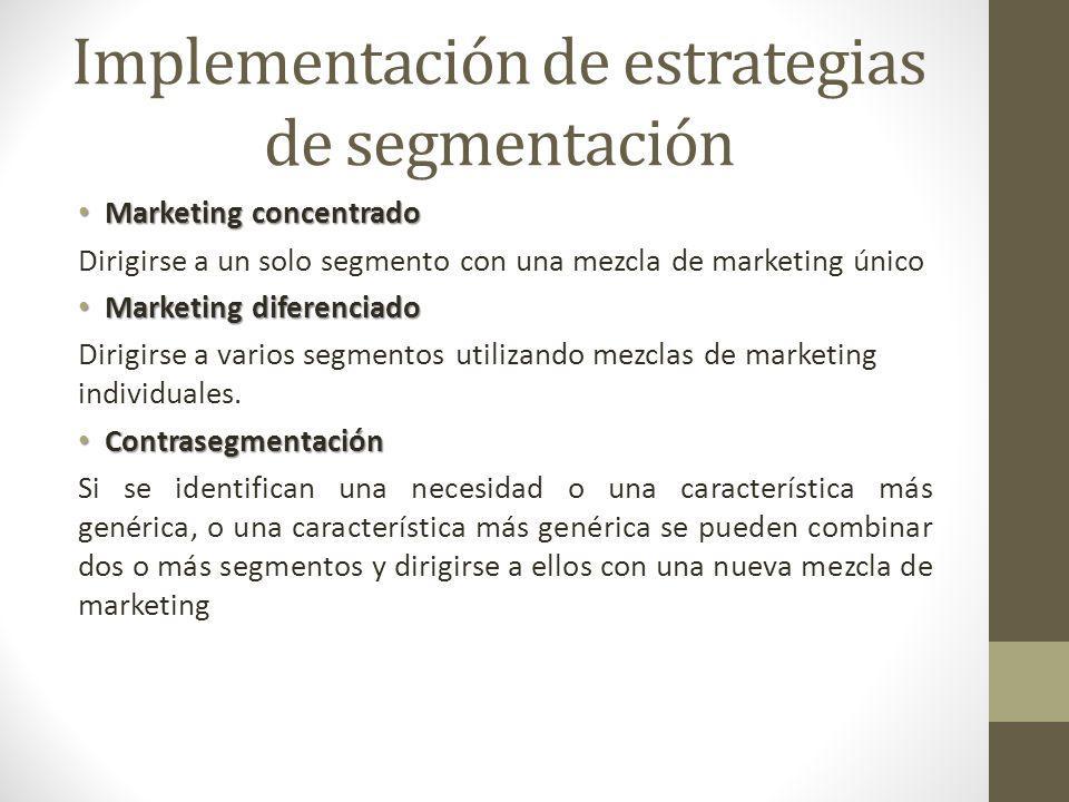 Implementación de estrategias de segmentación