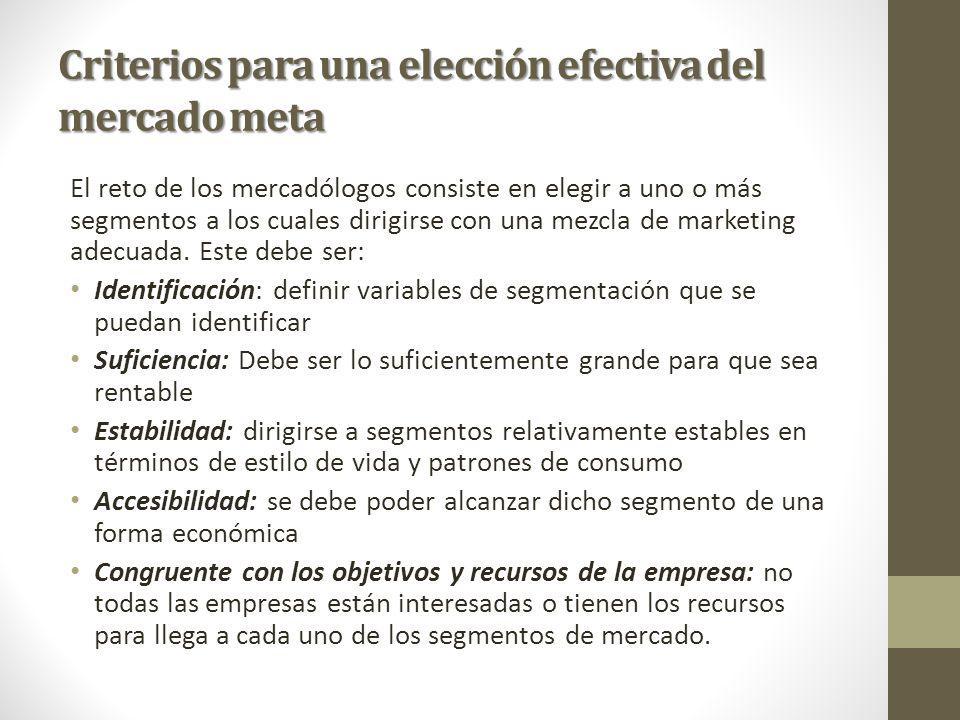 Criterios para una elección efectiva del mercado meta