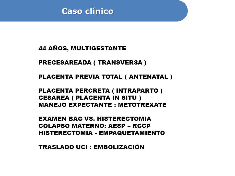 Caso clínico 44 AÑOS, MULTIGESTANTE PRECESAREADA ( TRANSVERSA )