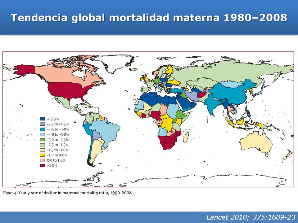 Tendencia global mortalidad materna 1980–2008