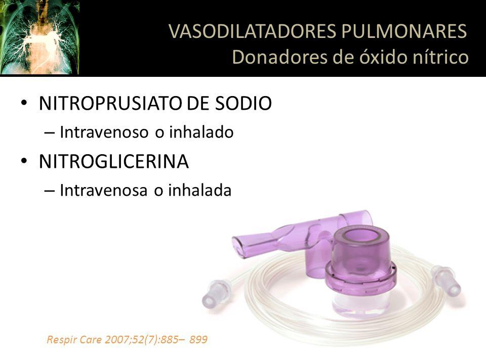 VASODILATADORES PULMONARES Donadores de óxido nítrico