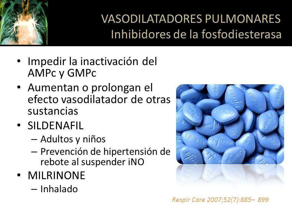VASODILATADORES PULMONARES Inhibidores de la fosfodiesterasa