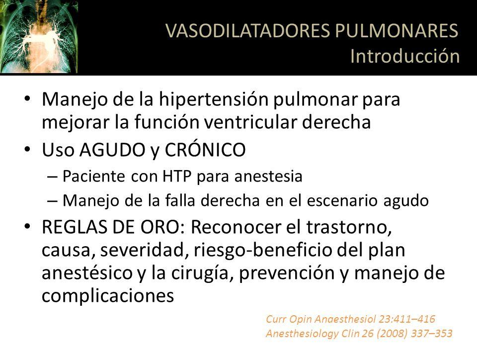VASODILATADORES PULMONARES Introducción