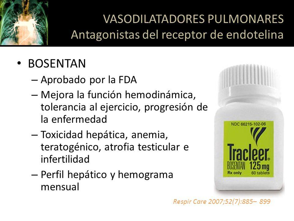 VASODILATADORES PULMONARES Antagonistas del receptor de endotelina