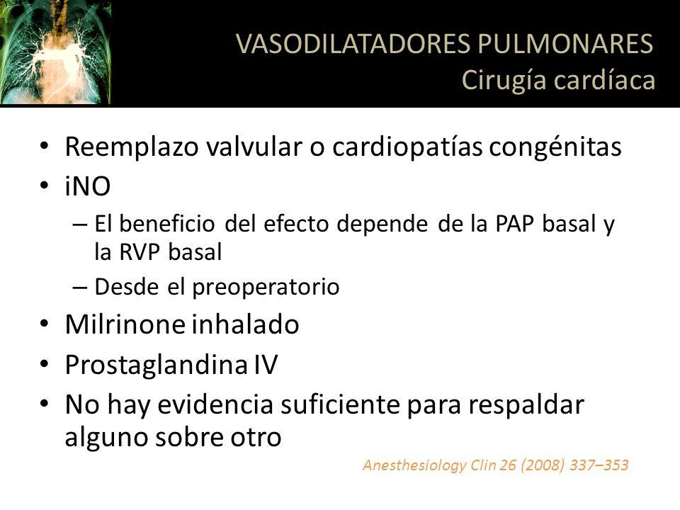 VASODILATADORES PULMONARES Cirugía cardíaca
