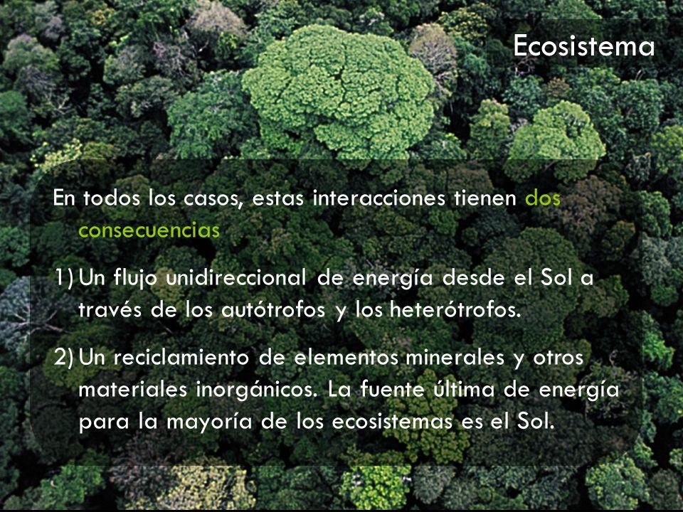 Ecosistema En todos los casos, estas interacciones tienen dos consecuencias.