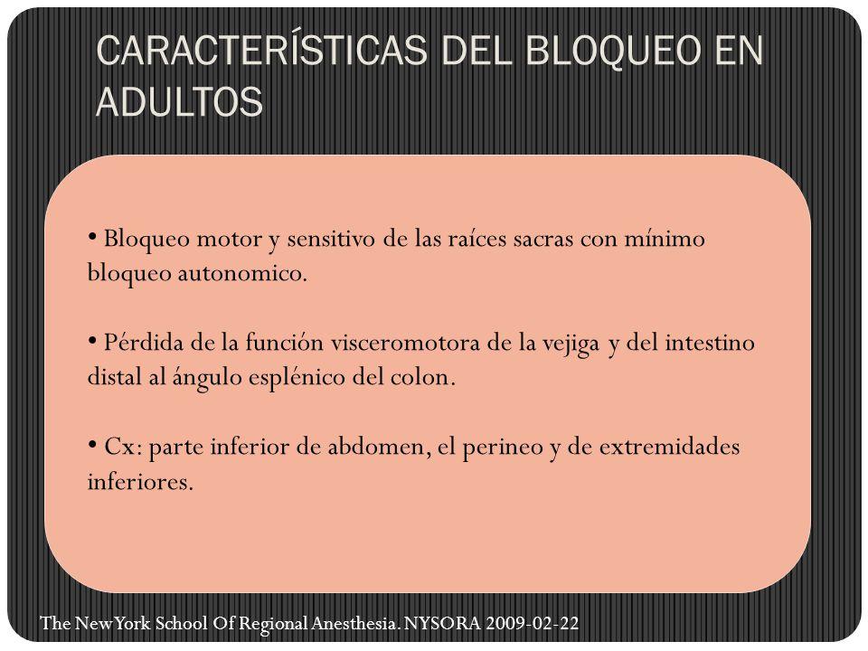 CARACTERÍSTICAS DEL BLOQUEO EN ADULTOS