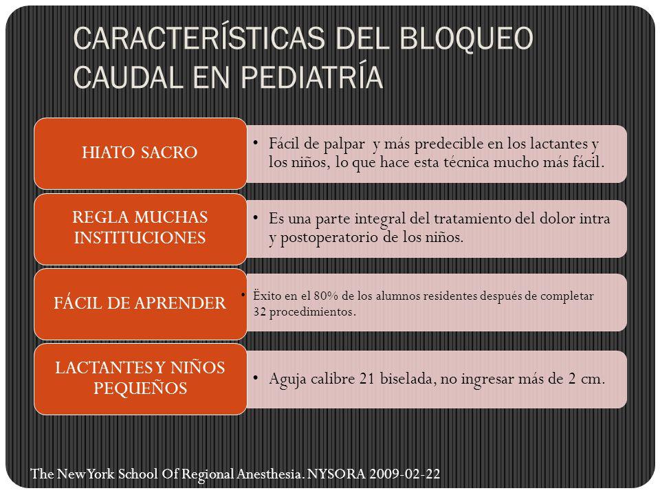 CARACTERÍSTICAS DEL BLOQUEO CAUDAL EN PEDIATRÍA