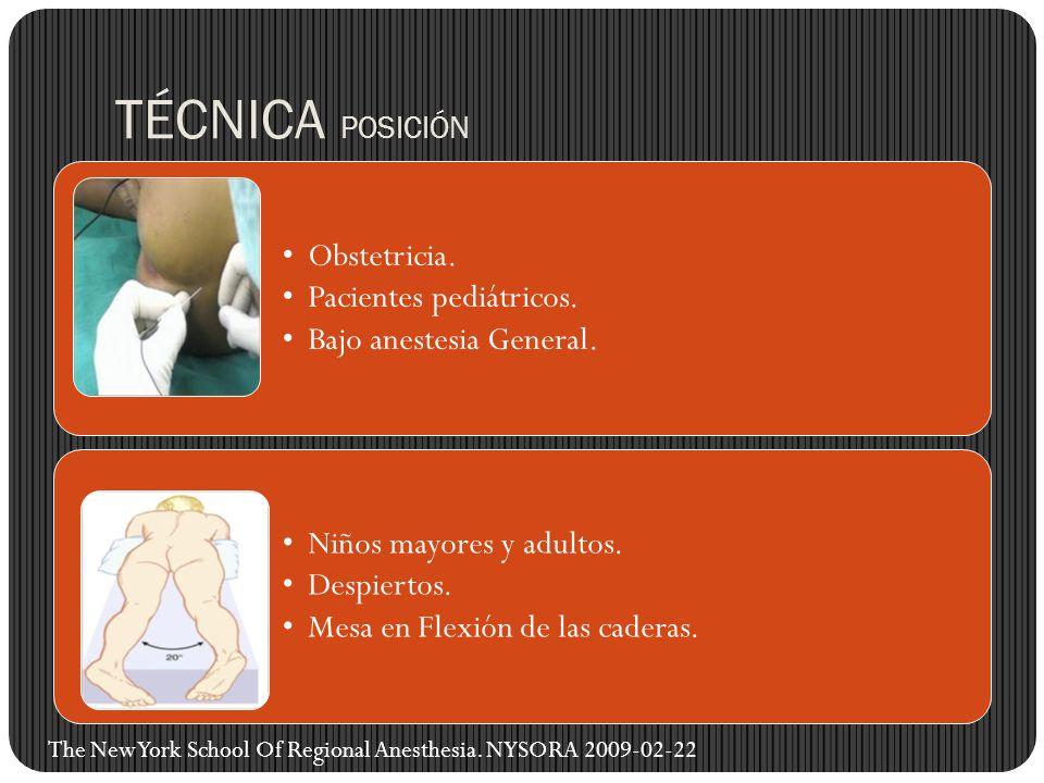 TÉCNICA POSICIÓN Obstetricia. Pacientes pediátricos.