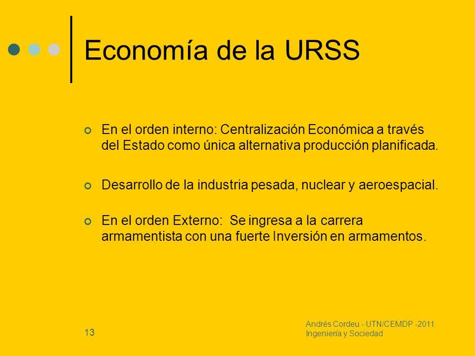 Economía de la URSS En el orden interno: Centralización Económica a través del Estado como única alternativa producción planificada.