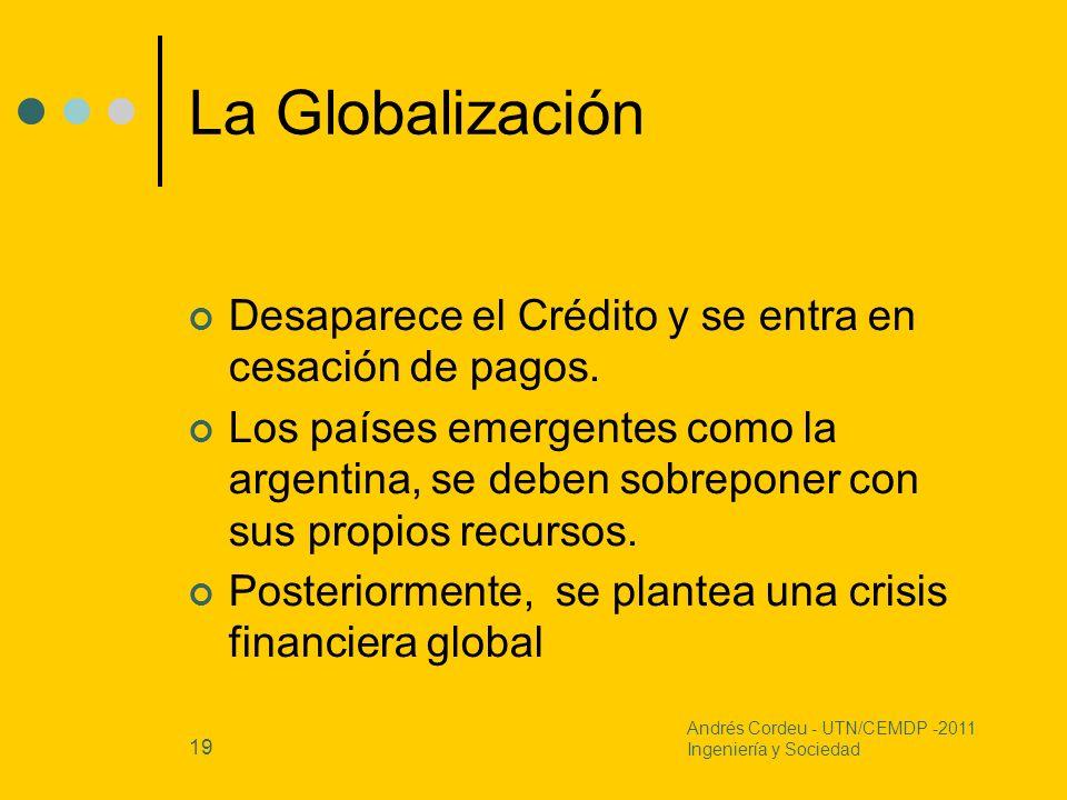 La GlobalizaciónDesaparece el Crédito y se entra en cesación de pagos.