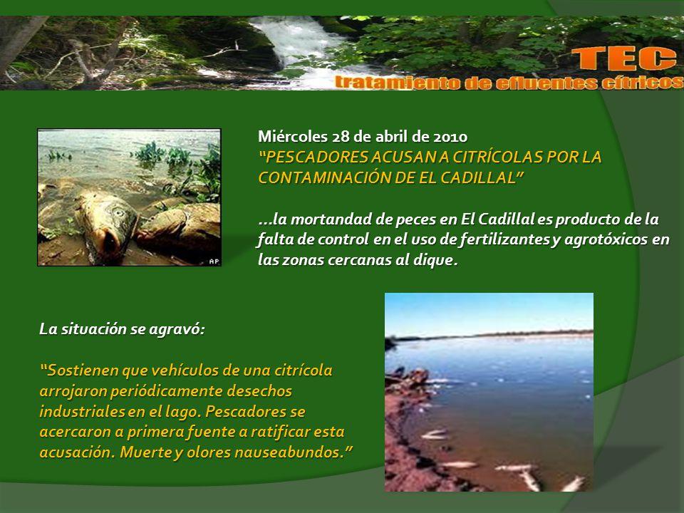 Miércoles 28 de abril de 2010 PESCADORES ACUSAN A CITRÍCOLAS POR LA CONTAMINACIÓN DE EL CADILLAL