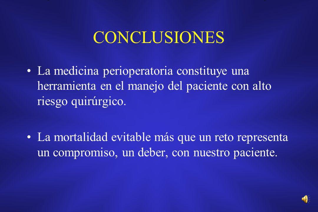 CONCLUSIONES La medicina perioperatoria constituye una herramienta en el manejo del paciente con alto riesgo quirúrgico.