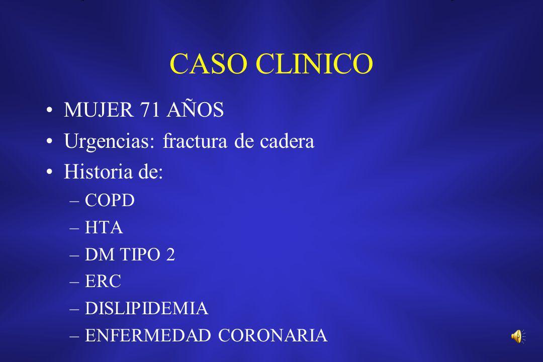 CASO CLINICO MUJER 71 AÑOS Urgencias: fractura de cadera Historia de: