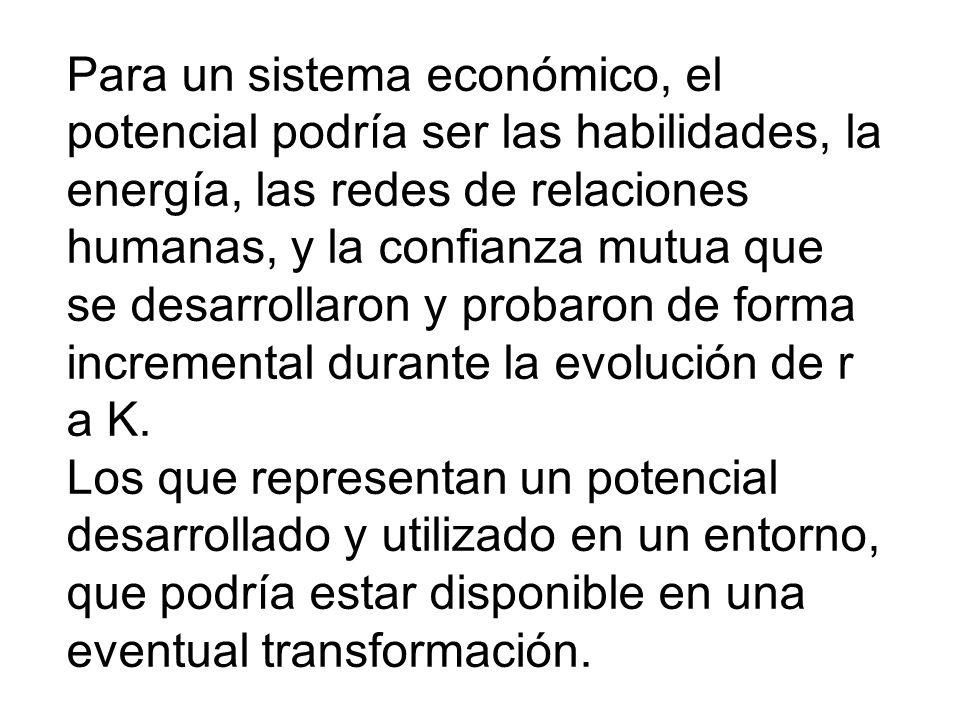 Para un sistema económico, el potencial podría ser las habilidades, la energía, las redes de relaciones humanas, y la confianza mutua que se desarrollaron y probaron de forma incremental durante la evolución de r a K.